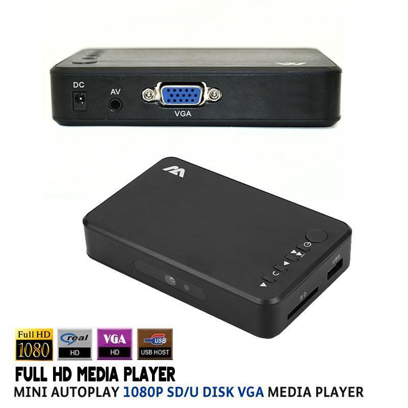 2pcs Portable Mini Full HD 1080P HDD Media Player Autoplay 1080p SD/U Disk VGA Media Player Support RMVB H.264 WMV MKV(China (Mainland))