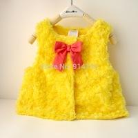 Drop SHipping Girls Autumn And Winter Fashion Waistcoat  Baby Toddler Bowknot Fashion Vest Kids Girls Autumn Yellow Outwear Coat
