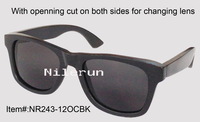men bamboo sunglasses with opening cut for changing lens