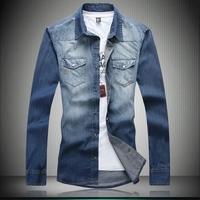 Free shipping famous brand plus size XXL XXXL 4xl 6xl 8xl Autumn long-sleeve denim men jeans shirts slim shirt men's clothing