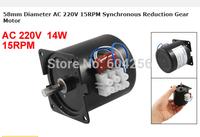 58mm Diameter AC 220V 15RPM Synchronous Reduction Gear Motor 14w