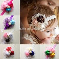 1PCS Retail Infant flower headband Babies pink lace hairband Toddler Baby girls Felt Flower headbands Free shipping