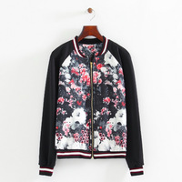 2014 new women fashion polyester flower printed coat standing collar long sleeves zipper closure bomber jackets 437622