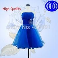 2014 new arrival short blue fashion crystal design sweetheart blue short women prom dress D144