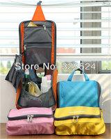 1pcs Travelling Women's Waterproof Nylon Double Zipper Travel Wash Bag with Mesh Pocket (23*23*10cm, 4 Colors)