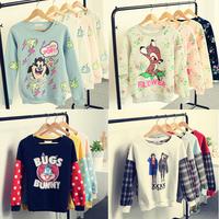 New winter High quality!  fashion hoody Flowers deer/rabbit/Lightning dog printing women's hoodies Loose women Sweatshirts
