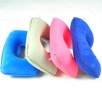 FEDEX FREE SHIPPING 200PCS/LOT Travel air pillow inflatable pillow flock printing pillow neck pillow u shaped pillow mixed color
