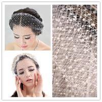 25x45cm White Pearl Beaded DIY Birdcage Veil Wedding Hair Accessorie Party Veils WIGO0365