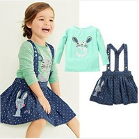 2014 new  children girls clothing sets 2pcs rabbit shirt +Denim strap dress spring autumn suits for kids girls