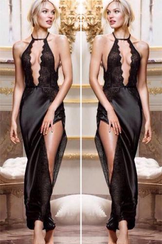New 2014 Womens Long Lingerie Lace Sexy Lady Hot Robe Pajama Sleepwear Nightwear Dress(China (Mainland))