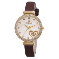 Hot Sale SKONE Fashion Water Resistant Wristwatches Women Rhinestone Watches Alloy Analog Genuine Leather Band Quartz Watch