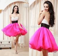 New Fashion Sexy Beaded abendkleid Sweetheart Pink Cheap vestidos de festa 2015 Sexy Short Knee Length Luxury Prom Dresses 2014
