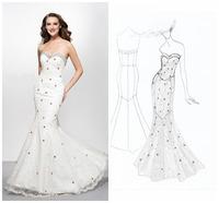 Hot Sell Strapless Off the Shoulder Lace Elegant Mermaid Evening Dresses vestido de festa longo Evening Dress Party Dresses