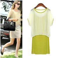 2014 summer thin loose plus size casual twinset chiffon one-piece dress female
