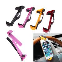 Universal Mobile Phone Holder Car Steering Wheel Bracket Stands Holder for iPhone Samsung GPS 4 Colors New Arrivel