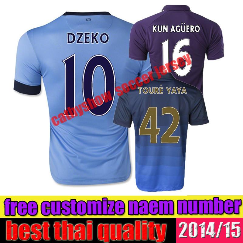 best thai quality 14 15 manchester NASRI KOMPANY SILVA KUN AGUERO TOURE YAYA 2015 third away soccer jersey Shirts(China (Mainland))