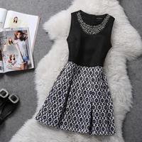 2014 Autumn winter women runway fashion luxury brand beads lady elegant knitting cotton woolen Slim Dress casua ER602