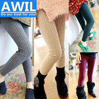 2014 Korean girls winter leggings knitted cotton baby boy pants plus thick velvet Leggings autumn solid color children kids