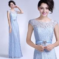 vestidos de fiesta 2014 Shining Crystal Belt Short Sleeve Long Evening Dress Romantic Lace vestido de renda Evening Dresses