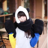 Lovely Girls Ladies Soft Warm Winter Animal black white Panda Style 3 in 1 Hat + Scarf + Gloves Christmas Gift