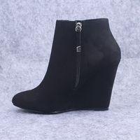 Sapatos Femininos Botas Mujer Fashion Womens Wedge Boots High Heel Ankle Pointed Toe Black Zip Shoes Woman botines  2014 Scrape