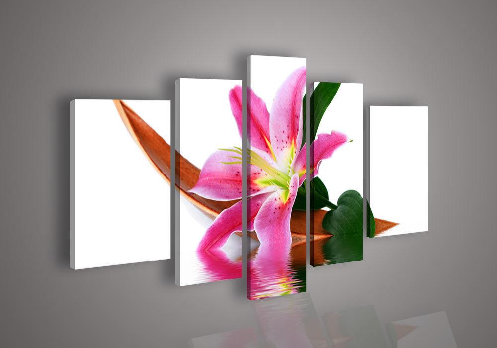 5 painel de parede de arte sem moldura Sem chamar a pintura abstrata moderna acrílico flor vermelha Imagem Rosa Óleo sobre tela Lily Pictures On The W(China (Mainland))