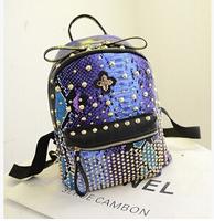 Fashion 2015 New  leisure tourism korean style Snakeskin grain Rivet punk multifunctional girl backpack