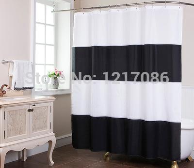 Cortina de ducha a rayas morado y blanco
