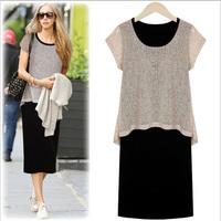 2014 autumn paragraph fashion plus size one-piece dress women's mm slim hip fluid knitted skirt step