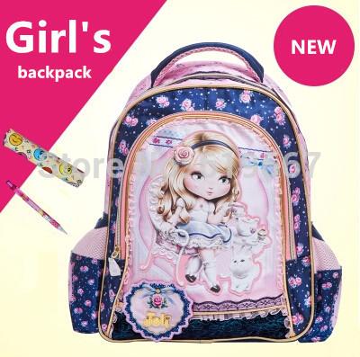 L'arrivée de nouveaux mode de dessin animé enfant fille sac à dos sacs d'école sac à dos bleu dentelle belle sac d'étudiant