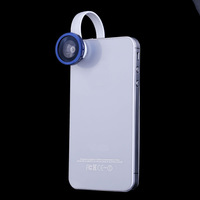 Blue Universal Clip Fish Eye Detachable Lens for iPhone 4S/4/5 Samsung Cellphone