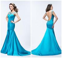 Hot Sexy Backless O-neck Mermaid Evening Dresses Fashion Plus Size Evening Dress vestido de festa Long Formal Party Dresses