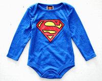 Free shipping baby boy superman romper long sleeves jumpsuit  baby christmas costumes roupas meninas KR049