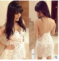 1080 New 2014 Summer Vestidos White crotch Casual dresses v-neck Sexy Lace Dress Women sleeveless Evening Party dresses