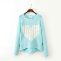 2014 Euro American Style Big Brand Long Sleeve Sweaters Heart Sweater Gift for Girlfriend