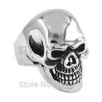 Free shipping! Gothic Silver Biker Skull Ring Stainless Steel Jewelry Large Skull Motor Biker Men Ring SWR0265