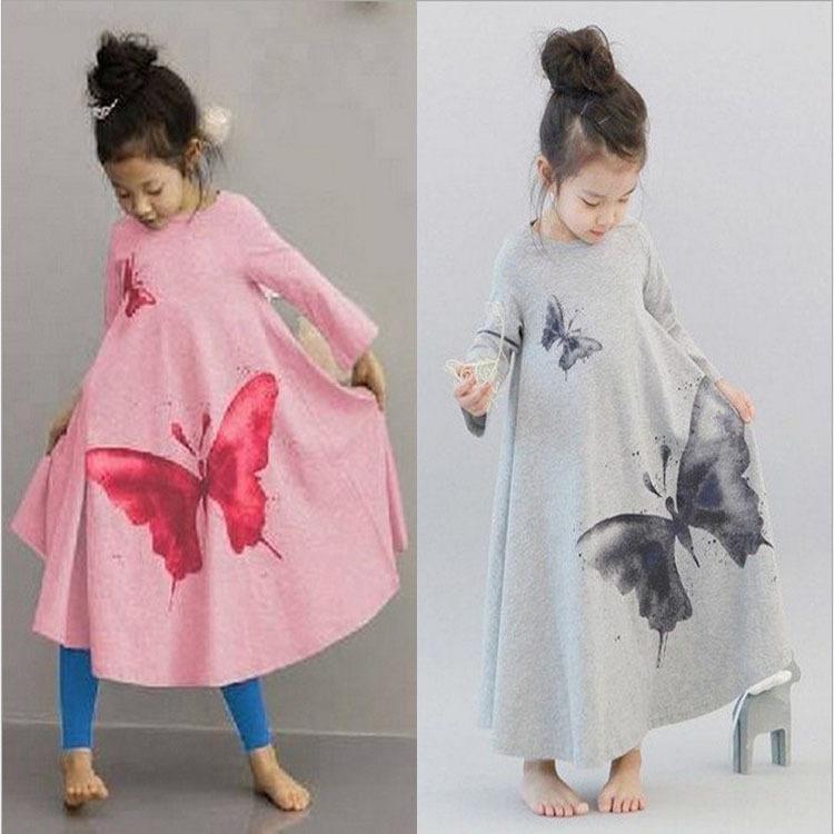 Lovely princess dress big butterfly vintage kids dresses girl's beach long dress children clothing 2 colors(China (Mainland))