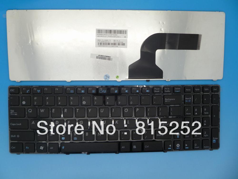 Клавиатура ноутбука черный с рамкой и синий этикетки для ASUS K52 UL50 американо-сша версии V111462AS1  кабельная втулка litai pg63 42 52 ul