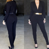 Aliexpress burst elegant Siamese trousers SEXY Jumpsuit new cotton club with belt