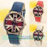 100pcs/lot England Britain Flag Jean Leather Watch Fashion Thumb Design Retro Bronze Color Watch Wrap Casual Wristwatch 3 Colors