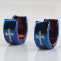 20pcs/lot Blue color cross earring 316L Stainless Steel  hip hop earrings Punk mens jewelry Free shipping wholesale