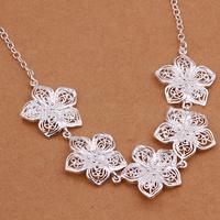 6Pcs/lot Women Trendy 925 Silver Flower Necklace Lady Silver Hollow Flower Pendant Necklace Women Silver Chain Choker Necklace