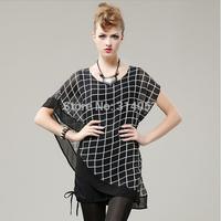 Europe and the United States the new fashion temperament bat sleeve loose big yards short sleeve dress wholesale