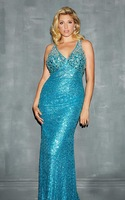 2014 plus size long rhinestone mermaid evening dress deep v-neck halter sleeveless sequined fashion bodycon tight prom dresses