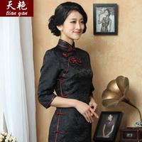 Tianyan 2014 autumn and winter, silk brocade side retro seven old Shanghai special short sleeve cheongsam