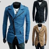 Free shipping !2014 autumn\winter men's 3 pocket design ,Inclined zipper casual Dust Coat mans Coat .3 colours.size M-XXL M26
