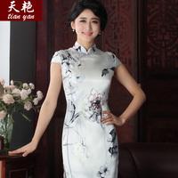 Day lily cultivation Long Yan short sleeved 2014 Hitz silk dress vintage silk cheongsam