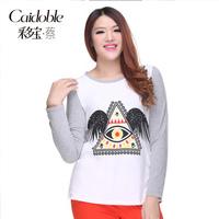 Prabhutaratna plus size clothing mm fashion color block print pullover sweatshirt a3033