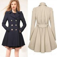 2014 Women Coat autumn spring Woolen Long Sleeve Overcoat Trench Desigual Woolen warm slim Coat Casacos Femininos S-XXL C48(China (Mainland))