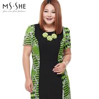 Msshe plus size clothing mm o-neck print short-sleeve dress 6167